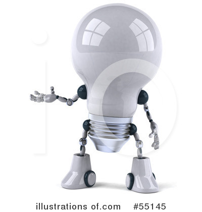 Light Bulb Robot Clipart #55145 by Julos