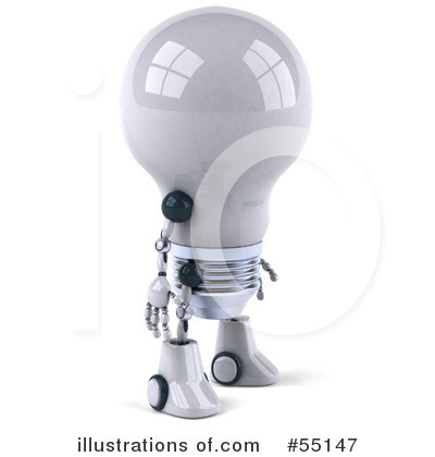 Light Bulb Robot Clipart #55147 by Julos