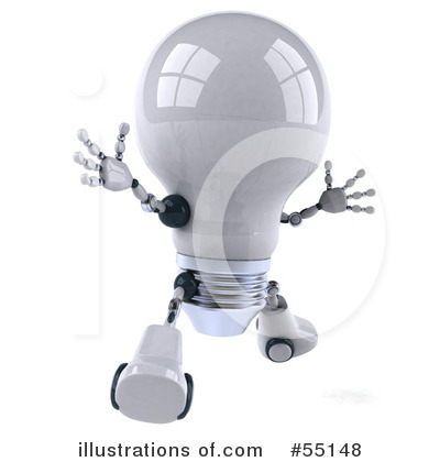 Light Bulb Robot Clipart #55148 by Julos