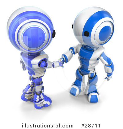 Royalty-Free (RF) Robots Clipart Illustration by Leo Blanchette - Stock Sample #28711