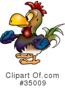 Royalty-Free (RF) Rooster Clipart Illustration #35009