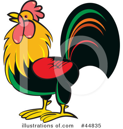 Royalty-Free (RF) Rooster Clipart Illustration by Lal Perera - Stock Sample #44835