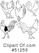 Royalty-Free (RF) Rooster Clipart Illustration #51259