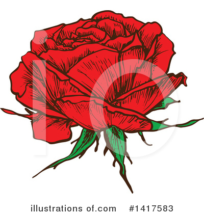Rose Clipart #1417583 by Vector Tradition SM