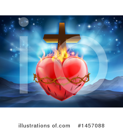 Sacred Heart Clipart #1457088 by AtStockIllustration