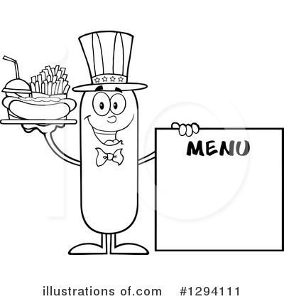 Sausage Character Clipart #1294111 by Hit Toon