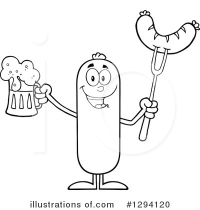 Sausage Character Clipart #1294120 by Hit Toon