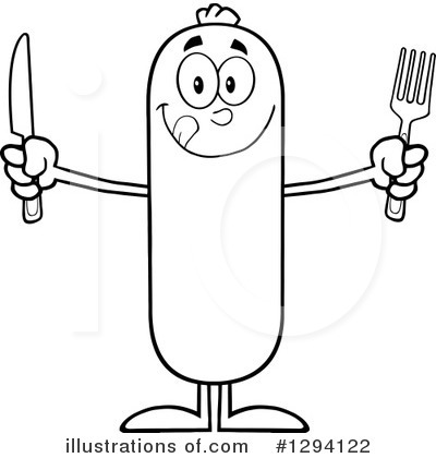 Sausage Character Clipart #1294122 by Hit Toon