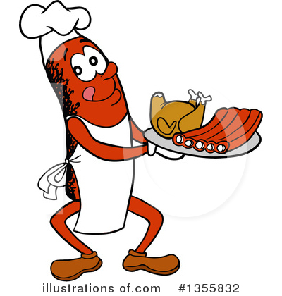 Chef Sausage Clipart #1355832 by LaffToon