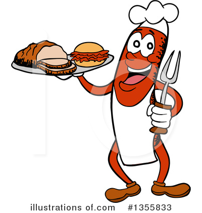 Chef Sausage Clipart #1355833 by LaffToon