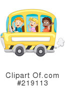 Royalty-Free (RF) School Bus Clipart Illustration #219113