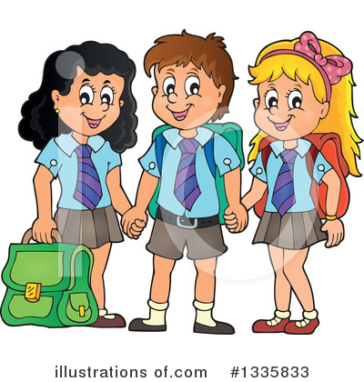 Royalty-Free (RF) School Children Clipart Illustration by visekart - Stock Sample #1335833
