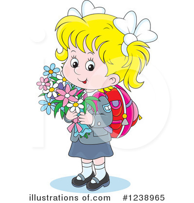 School Girl Clipart #1238965 by Alex Bannykh