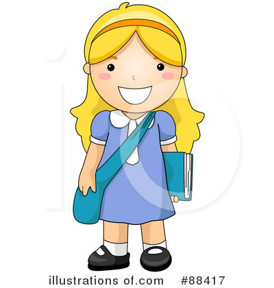 Royalty-Free (RF) School Girl Clipart Illustration by BNP Design Studio - Stock Sample #88417