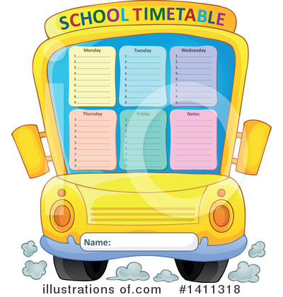 School Timetable Clipart #1411318 by visekart