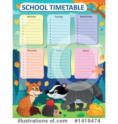 Royalty-Free (RF) School Timetable Clipart Illustration by visekart - Stock Sample #1419474