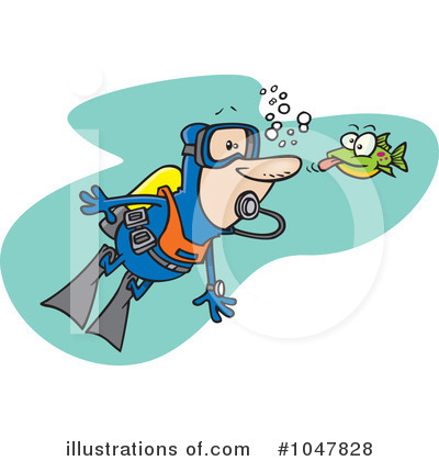 Royalty-Free (RF) Scuba Clipart Illustration by Ron Leishman - Stock Sample #1047828