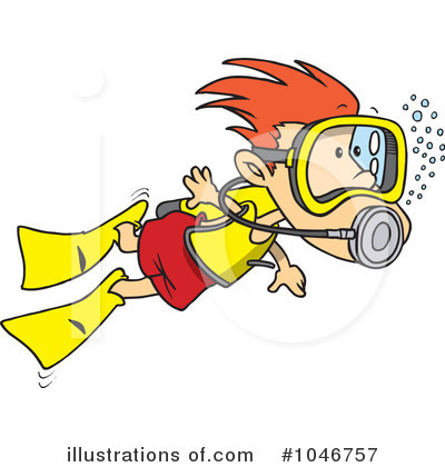 Royalty-Free (RF) Scuba Diver Clipart Illustration by toonaday - Stock Sample #1046757
