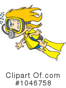 Royalty-Free (RF) Scuba Diver Clipart Illustration #1046758