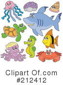 Royalty-Free (RF) Sea Life Clipart Illustration #212412