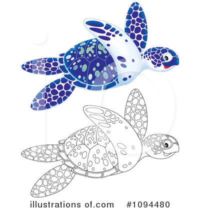 Sea Turtle Clipart #1094480 by Alex Bannykh