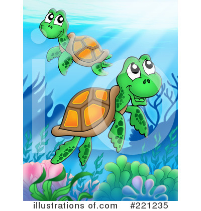 Royalty-Free (RF) Sea Turtle Clipart Illustration by visekart - Stock Sample #221235