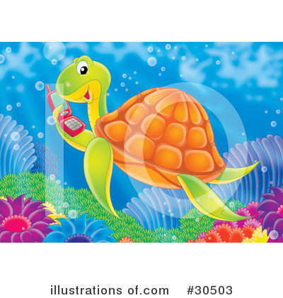 Royalty-Free (RF) Sea Turtle Clipart Illustration by Alex Bannykh - Stock Sample #30503