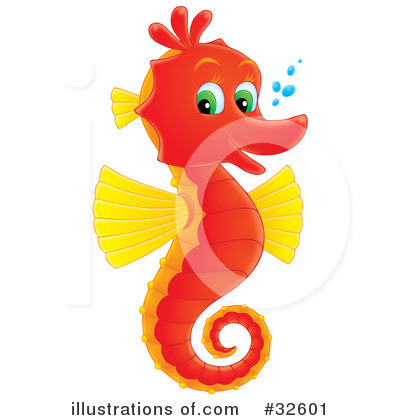 Royalty-Free (RF) Seahorse Clipart Illustration by Alex Bannykh - Stock Sample #32601