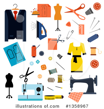 Royalty-Free (RF) Sewing Clipart Illustration by Vector Tradition SM - Stock Sample #1358967