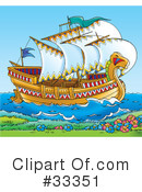 Royalty-Free (RF) Ship Clipart Illustration #33351