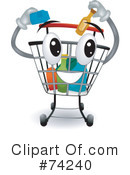 Royalty-Free (RF) Shoppping Cart Clipart Illustration #74240