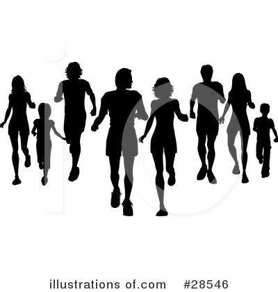 Royalty-Free (RF) Silhouetted People Clipart Illustration by KJ Pargeter - Stock Sample #28546