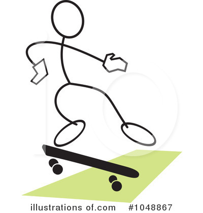 Skateboarding Clipart #1048867 by Johnny Sajem