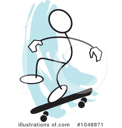 Skateboarding Clipart #1048871 by Johnny Sajem