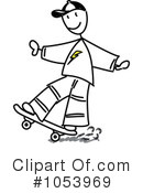 Skateboarding Clipart #1053969 by Frog974