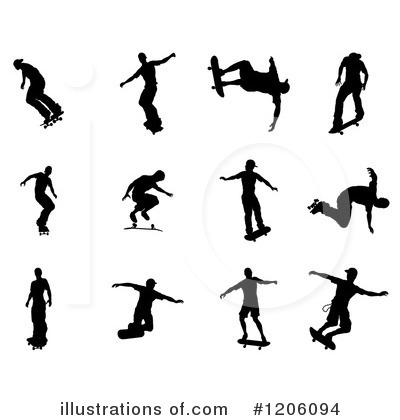 Skateboarding Clipart #1206094 by AtStockIllustration