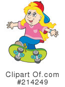 Royalty-Free (RF) Skateboarding Clipart Illustration #214249