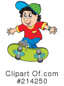 Royalty-Free (RF) Skateboarding Clipart Illustration #214250