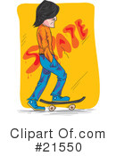 Royalty-Free (RF) Skateboarding Clipart Illustration #21550