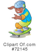 Royalty-Free (RF) Skateboarding Clipart Illustration #72145