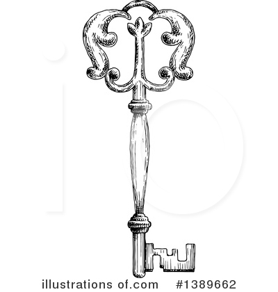 Skeleton Key Clipart #1389662 by Vector Tradition SM