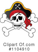 Royalty-Free (RF) Skull And Crossbones Clipart Illustration #1104910
