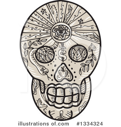 Royalty-Free (RF) Skull Clipart Illustration by patrimonio - Stock Sample #1334324