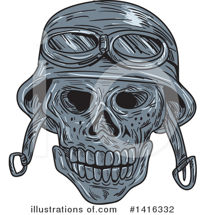 Royalty-Free (RF) Skull Clipart Illustration by patrimonio - Stock Sample #1416332