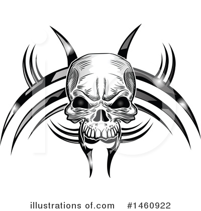 Skull Clipart #1460922 by Domenico Condello