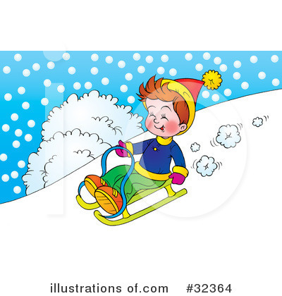 Royalty-Free (RF) Sledding Clipart Illustration #32364 by Alex Bannykh