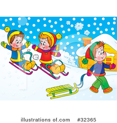 Sledding Clipart #32365 by Alex Bannykh