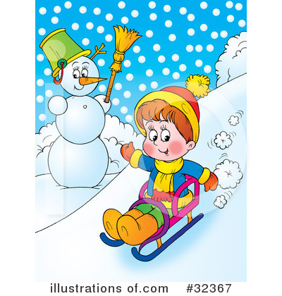 Sledding Clipart #32367 by Alex Bannykh