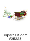 Royalty-Free (RF) Sleigh Clipart Illustration #25223