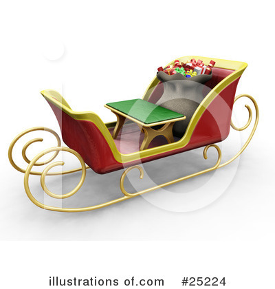 Royalty-Free (RF) Sleigh Clipart Illustration by KJ Pargeter - Stock Sample #25224